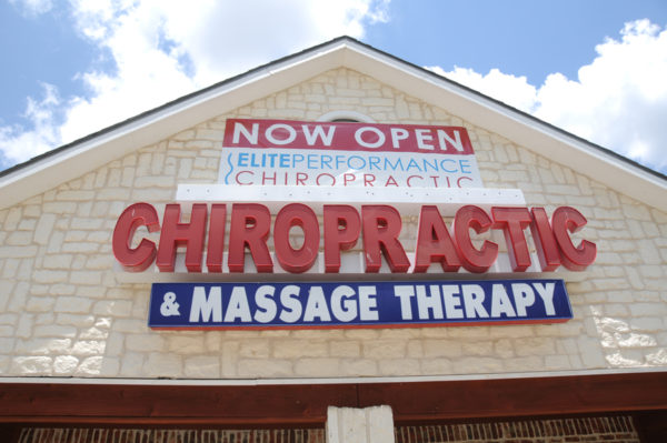 Sign – Storefront Sign of Chiropractic & Massage Therapy